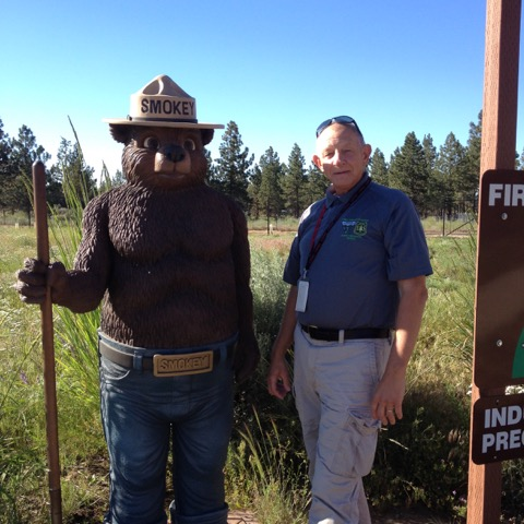 Jim with Smokey in the Deschutes NF in Oregon